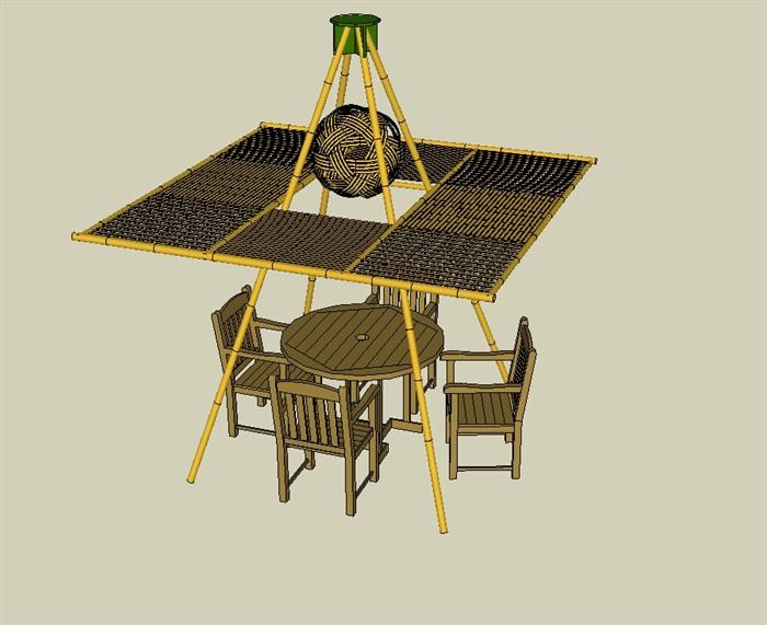 五个竹制景观小品SU模型(3)