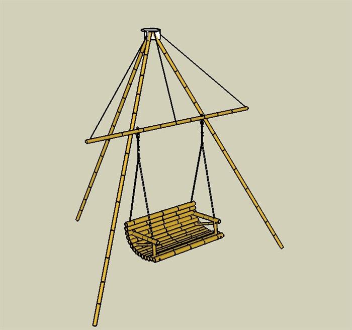 五个竹制景观小品SU模型(5)
