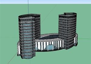 酒店多层详细设计SU(草图大师)模型