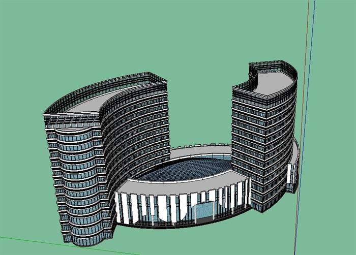 酒店多层详细设计su模型(3)