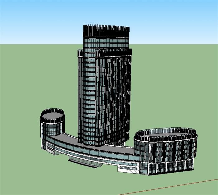 酒店详细建筑楼设计su模型(2)