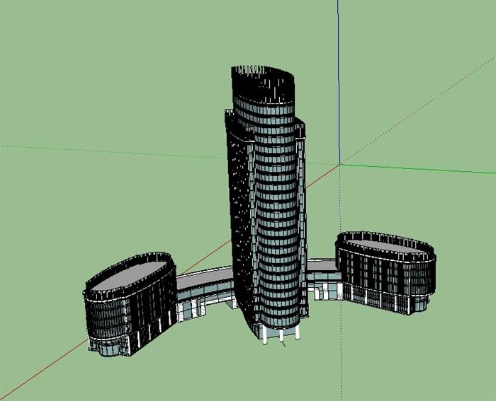酒店详细建筑楼设计su模型(1)