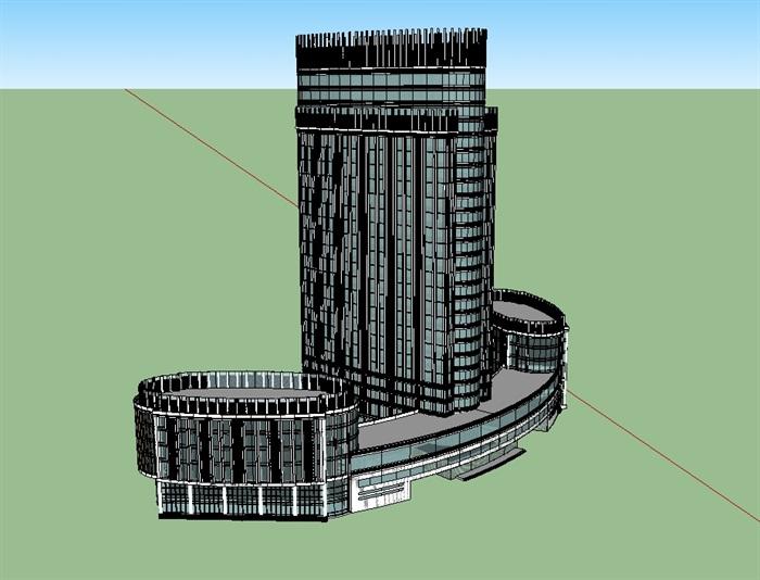 酒店详细建筑楼设计su模型(3)