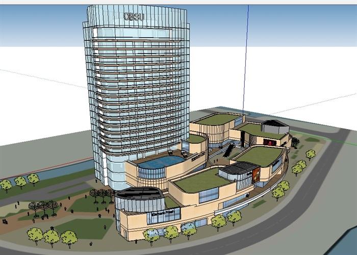 商业办公详细完整建筑su模型(1)