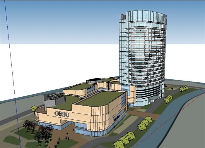商业办公详细完整建筑su模型(3)