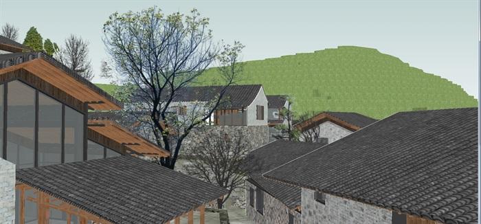现代新农村山地民宿建筑SU设计模型(2)