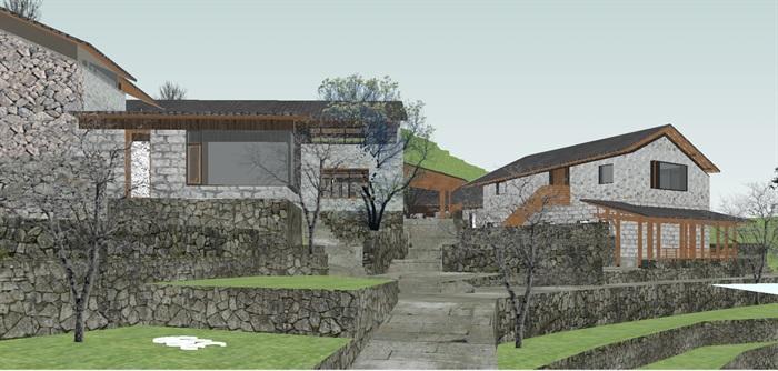 现代新农村山地民宿建筑SU设计模型(3)