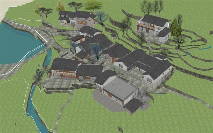 现代新农村山地民宿建筑SU设计模型(6)
