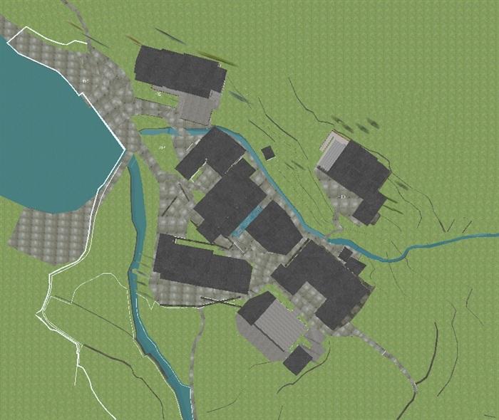 现代新农村山地民宿建筑SU设计模型(8)
