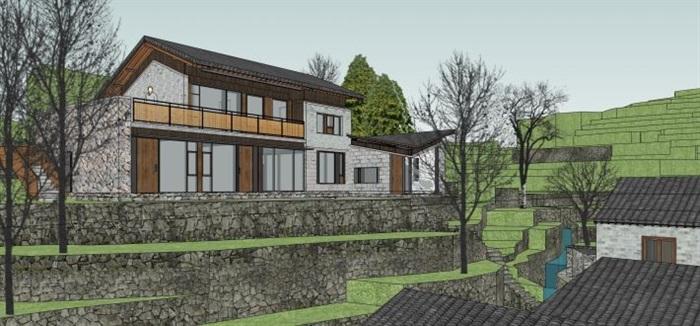 现代新农村山地民宿建筑SU设计模型(10)