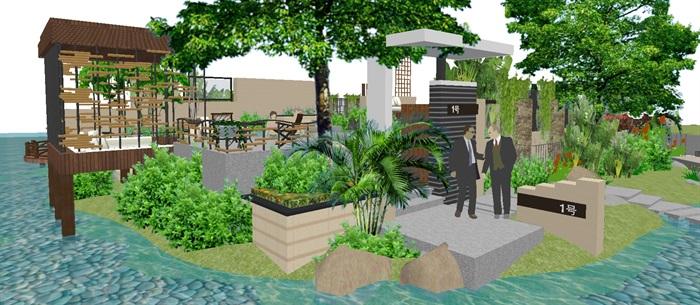 现代别墅后庭院景观方案SU设计模型 (1)