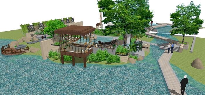 现代别墅后庭院景观方案SU设计模型 (2)