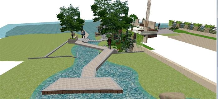 现代别墅后庭院景观方案SU设计模型 (3)