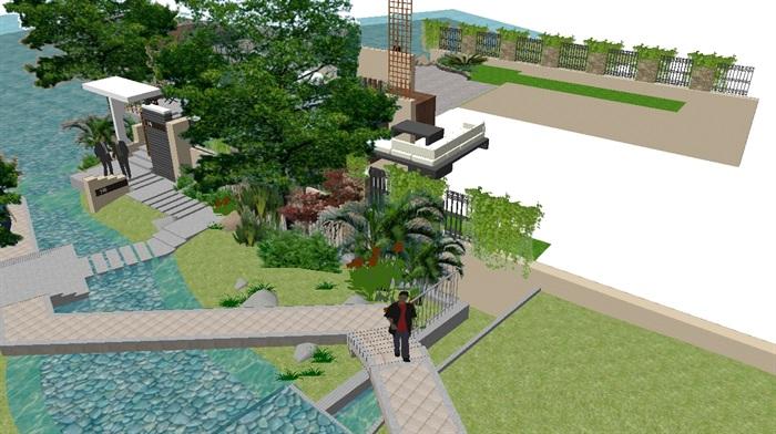 现代别墅后庭院景观方案SU设计模型 (4)