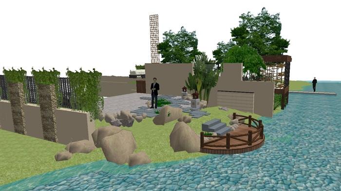 现代别墅后庭院景观方案SU设计模型 (5)