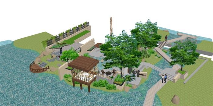 现代别墅后庭院景观方案SU设计模型 (6)