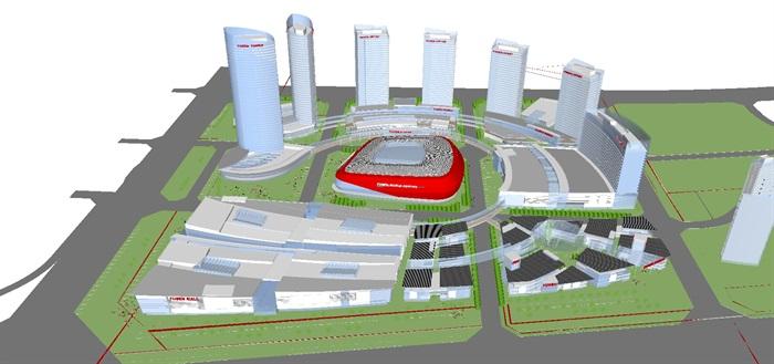 现代商业综合体建筑方案SU设计模型(1)