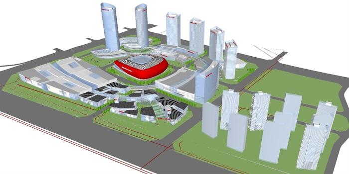现代商业综合体建筑方案SU设计模型(2)