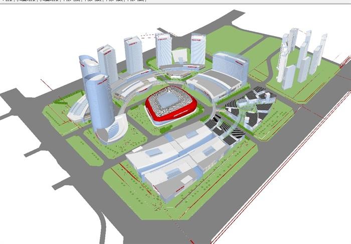 现代商业综合体建筑方案SU设计模型(5)