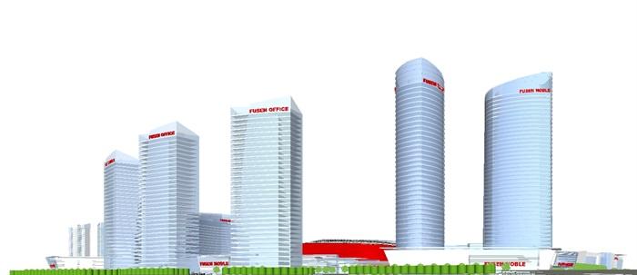 现代商业综合体建筑方案SU设计模型(6)