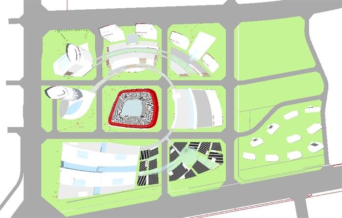 现代商业综合体建筑方案SU设计模型(9)