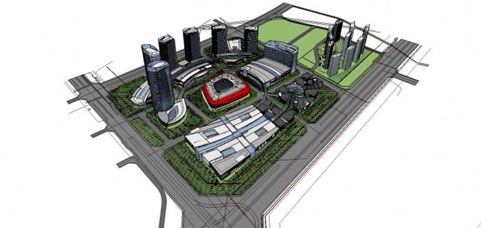 现代商业综合体建筑方案SU设计模型(10)