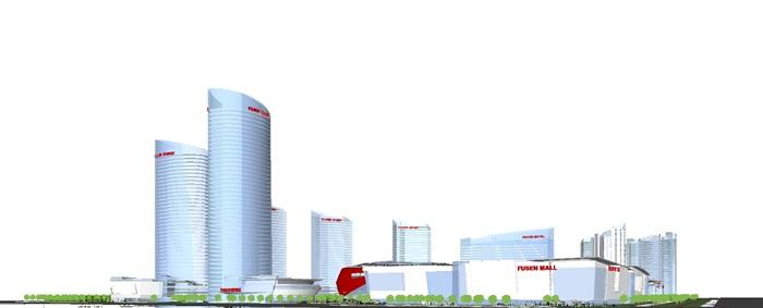现代商业综合体建筑方案SU设计模型(12)