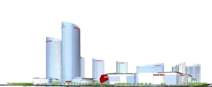 现代商业综合体建筑方案SU设计模型(11)