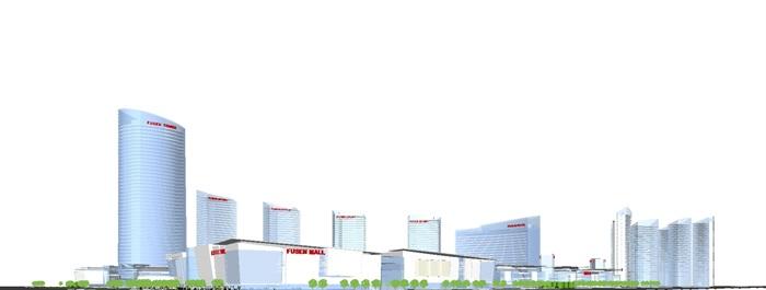 现代商业综合体建筑方案SU设计模型(13)
