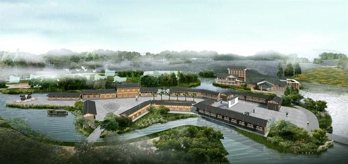 中式风情园度假景观鸟瞰图