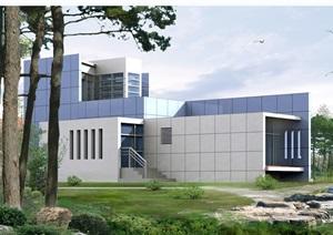 现代独栋别墅方案带效果图