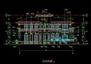 独栋别墅多层建筑设计cad方案图