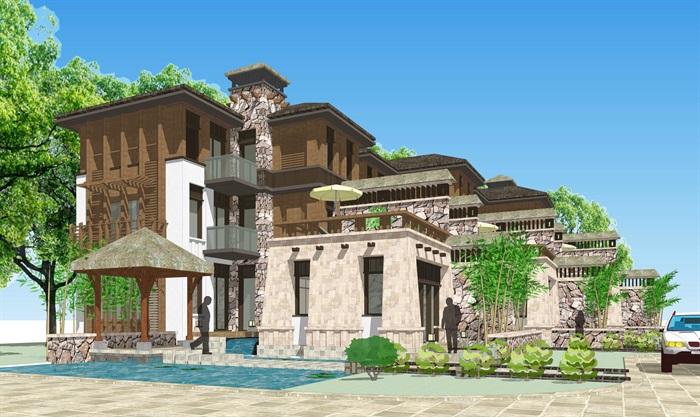 精细联排别墅详细建筑su模型