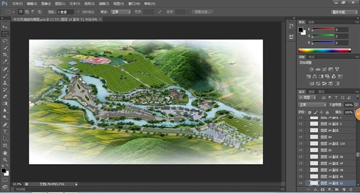 中式风情园度假景观鸟瞰图(2)