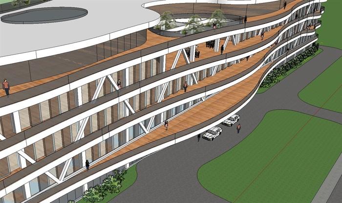 现代风格滨海酒店建筑设计su模型[原创]