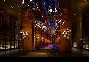 王府大酒店走廊3d模型及效果图