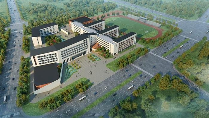 一个简约新中式高中部学校建筑方案su设计模型[原创]