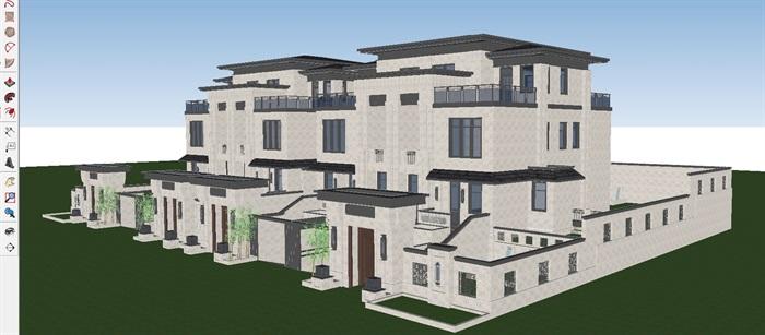 新中式合院式联排别墅SUv模型模型[原创]武义别墅酒店图片