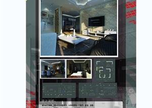 现代住宅室内空间毕业设计psd展板