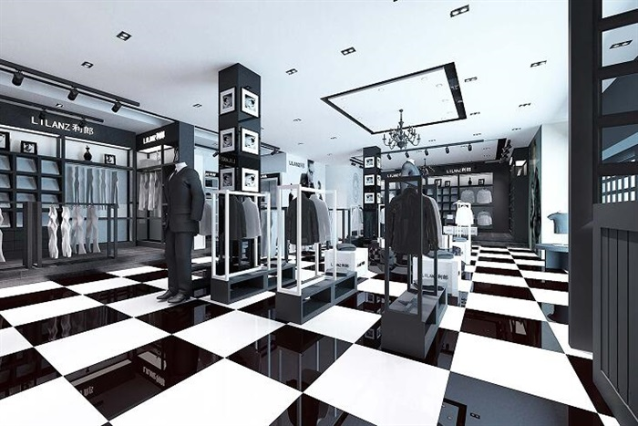 服裝店優秀畢業設計CAD施工圖3D源文件7張效果圖