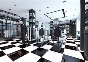 服装店优秀毕业设计CAD施工图3D源文件7张效果图
