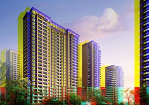 欧式住宅高层建筑小区楼设计psd效果图