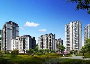 欧式住宅小区高层建筑psd效果图
