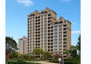 欧式多层详细住宅楼设计psd效果图