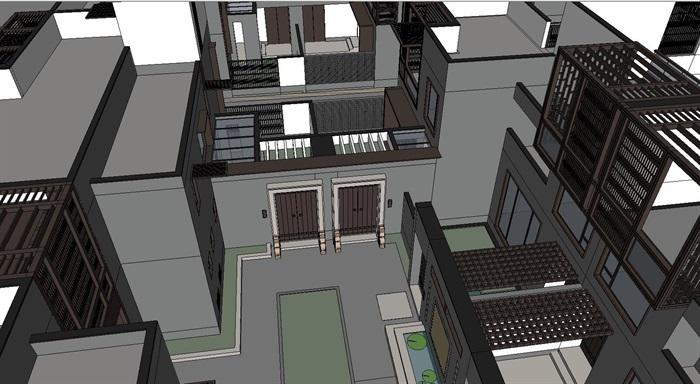 新中式连拼别墅建筑设计su模型[原创]