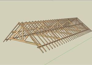 防腐木屋顶结构模型