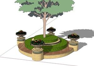 某欧式详细的树池花钵素材设计SU(草图大师)模型