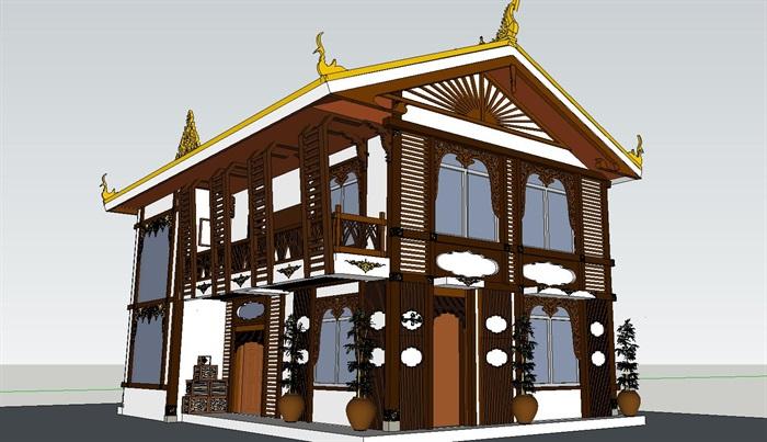 藏式新农村别墅住宅建筑su模型