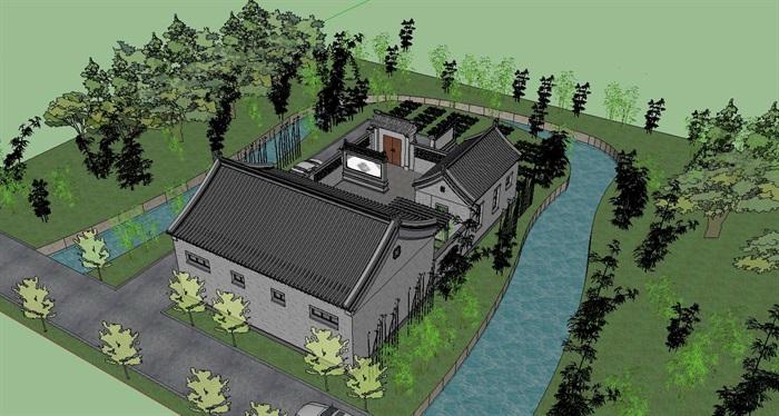 中式风格乡村古建筑房子su模型[原创]