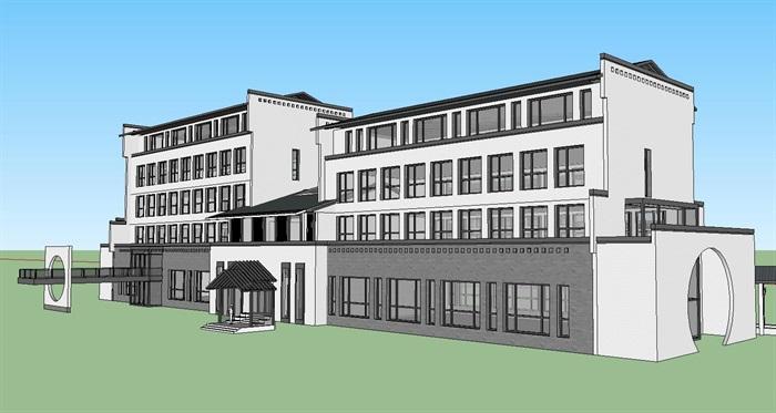 新中式风格多层办公楼建筑su模型[原创]
